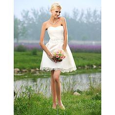 A-line+Sweetheart+Short/+Mini+Tulle+Over+Satin+Wedding+Dress+–+USD+$+129.99