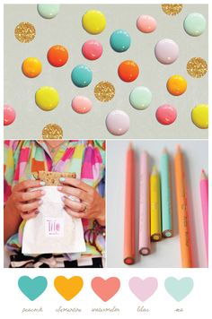 Lovely colour scheme with even lovelier colour names! ------Pastels with brights #fashion trends