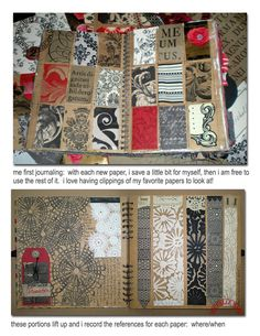"Michelle Ward 's ""me first journaling - pieces of art papers from Venice attached to journal     http://michelleward.typepad.com/michelleward/2013/02/i-love-art-paper.html   #architectural #patterns"