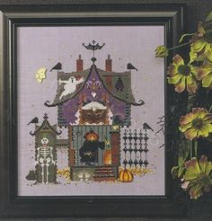 HALLOWEEN OPEN HOUSE CROSS STITCH CHART, CRICKET COLLECTION, VICKI HASTINGS…