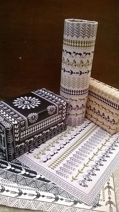 These are the customized festive wrapping paper denoting celebration in its composition and patterns. Keeping in mind the old tribal art of India- Warli Paintings, these illustrations were created. Worli Painting, Bottle Painting, Bottle Art, Painted Trunk, Painted Wooden Boxes, Tribal Pattern Art, Tribal Art, Traditional Paintings, Traditional Art