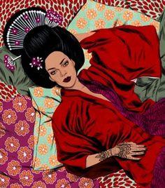 Rihanna'nın Japon Temalı İllüstrasyonları