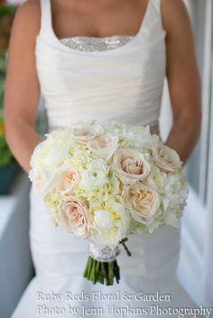 Garden Rose And Peony Bouquet ivory hydrangea, white ranunculus & vendela rose and white peony