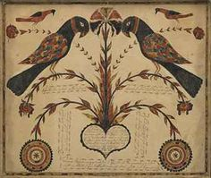 Pennsylvania School- 1794 Primitive Painting, Primitive Folk Art, Primitive Antiques, Art Populaire, Pennsylvania Dutch, Bird Art, Crow Art, Arts And Crafts Movement, Naive Art