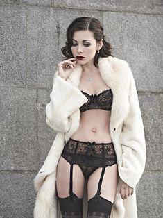 glamorous lingerie, dark lipstick, smoldering...
