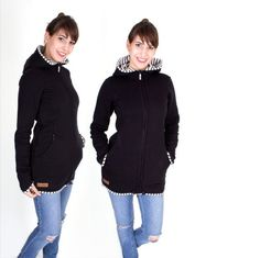 Viva la Mama | Baby Carrying Jacket VIVID made of sweatshirt fabric (3in1, black-white striped). A stylish jacket for pregnancy, maternity, baby wearing and everyday use. Perfect for a modern baby wearing mom with a casual street style :)