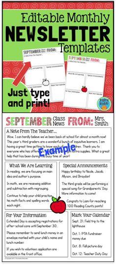kindergarten newsletter newsletter templates and kindergarten on pinterest. Black Bedroom Furniture Sets. Home Design Ideas