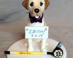 Custom Made Single Dog Wedding Cake Topper Boston Bruins Hockey Labrador Lab Retriever Sculpture