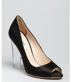 88bc01c8366 All I want for Christmas are these Prada black satin peep toe lucite heel  pumps that I ve been lusting after all year