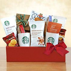 Coffee Gift Baskets - Starbucks Home for the Holidays Gift Basket comes with a variety of great blends and sweets. Best of all, this gift set also includes a pair of ceramic Starbucks coffee mugs.