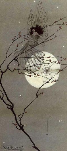 Moonlit Fairies - Elizabeth Mary Watt, 1912 She who lives in the spider's web. Elfen Fantasy, Fantasy Art, Fairy Land, Fairy Tales, Dragons, Kobold, Alphonse Mucha, Flower Fairies, Magical Creatures