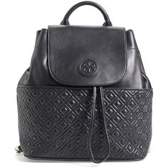 Tory Burch 'Marion' Quilted Lambskin Backpack (4,305 EGP) ❤ liked on Polyvore featuring bags, backpacks, black, black quilted bag, black drawstring backpack, drawstring backpack bags, black backpack и quilted backpack