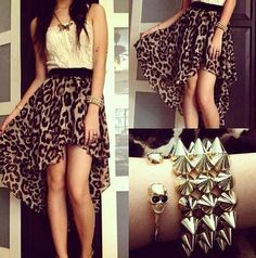 How To Wear Leopard Print Skirt - Outfit Ideas Printed Skirt Outfit, Printed Skirts, Skirt Outfits, Cute Outfits, Teen Outfits, Look Fashion, Teen Fashion, Skirt Fashion, Feminine Fashion