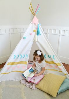 Southwest DIY Teepee by Aly Dosdall for We R Memory Keepers Diy Tipi, Girls Teepee, Kids Teepee Tent, Kids Play Area, Kids Room, We R Memory Keepers, Kids Playing, Bunt, Little Ones