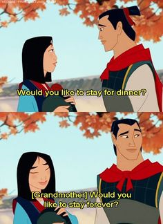 OMG yes! One of my favorite parts in Mulan. Seriously...probably one of the best lines the whole movie