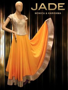 Yellow and gold sunshine -JADE Indian Attire, Indian Ethnic Wear, Ethnic Outfits, Indian Outfits, Ethnic Fashion, Indian Fashion, Anarkali Lehenga, Anarkali Suits, Punjabi Suits