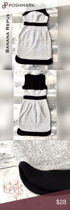 Professional blocked tweed/knit sheath dress LNWOT-workplace perfect! Black knit and b/w tweed dress.  Back zip. Scallop edge at side hem detail.  98% cotton 2% spandex. Fully lined. Banana Republic Dresses