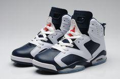 Air Jordan 6 Retro White Dark Blue Shoes