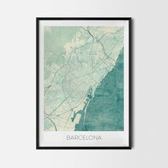 Barcelona art posters - City Art Map Posters and Prints