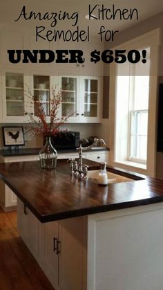 Stunning kitchen makeover on a budget ~ this is my dream kitchen (it even has a fireplace!).