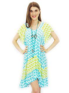 Painted China Dress in Turquoise and Lime $55.99