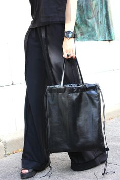 Genuine Leather Bag/Women Shopper Bag/Stylish Black Bag/Black
