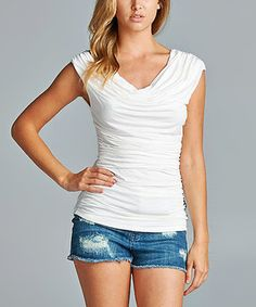 42POPS Ivory Ruched Drape Top by 42POPS #zulily #zulilyfinds