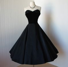 vintage 1950s dress ...exquisite black taffeta and velvet beaded shelf bust circle skirt pin-up bombshell cocktail party dress -featured item-