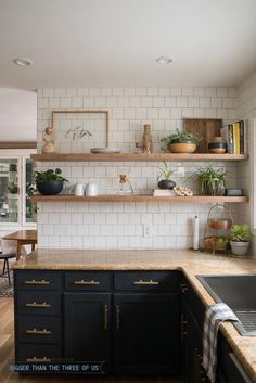 DIY Open Shelving in the Kitchen - Dark cabinets with brass pulls, granite and w. DIY Open Shelving in the Kitchen – Dark cabinets with brass pulls, granite and white subway tile Kitchen Ikea, Dark Kitchen Cabinets, Rustic Kitchen, Kitchen Dining, Kitchen Decor, Kitchen Backsplash, White Cabinets, Kitchen Gadgets, Backsplash Ideas