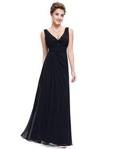 Ever Pretty Women s Sexy V Neck Black Floor Length Chiffon Prom Dress 4 US Prom  Dresses 30d9f1f8798d