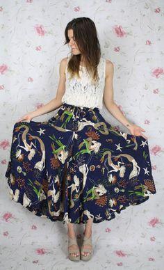 80s MERMAID print skirt by #renewvintage, $39.00  #80s #retro #vintageskirt #noveltyprint #mermaids #seahorse #maxiskirt #etsy