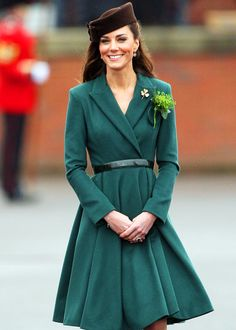 Kate Middleton in Emilia Wickstead and a Lock & Co hat at Aldershot Barracks to celebrate St Patrick's Day.