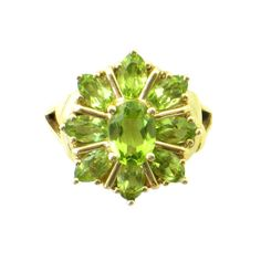 Vintage Peridot Ring in 10K Gold • More than 3 ctw. of Sparkly Peridot Gemstones in Floral Design • Vintage Gold & Peridot Ring • Size 6 by EncoreJewelryandGems on Etsy