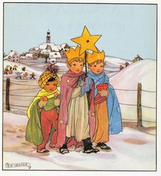 Rie Cramer (Dutch - All Year Round December 1978 Edition Winter Illustration, Children's Book Illustration, Book Illustrations, Christmas Art, Vintage Christmas, Christmas Journal, Sweet Drawings, Three Wise Men, Kids Story Books