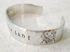 Labrador Retriever Dog Hand Stamped Cuff Bracelet by talktothepaws
