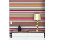 Stripes Mural (DM213-1) - Mr Perswall Wallpapers - Add a wow to your wall with this bright multi-coloured horizontally striped mural in bands of different width. Also available in purple and grey. Total mural size 180 x 265cm - NOT AS STATED BELOW.