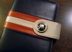 Franklin Covey Day Planner Organizer 6 Ring Brown & Burnt Orange Credit Card Hol #FranklinCovey