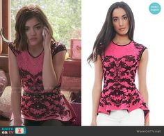 Aria's pink and black lace peplum top on Pretty Little Liars.  Outfit Details: http://wornontv.net/49765/ #PLL
