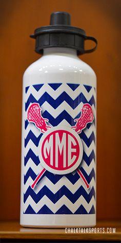 Monogram Lacrosse Water Bottle. Personalized lax bottle is a great lacrosse team gift idea!