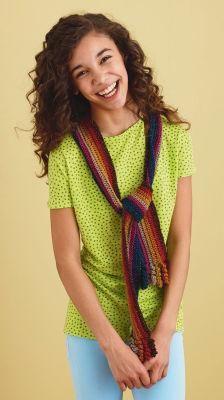 Lion Brand® Bonbons Curly Fringe Scarf (Crochet)