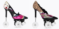 These Saint Laurent roller-skate stilettos are the perfect gift for the shoe-lover who thinks she has everything. Stilettos, Pumps, Stiletto Heels, High Heels, News Fashion, Weird Fashion, Fashion Trends, Uk Fashion, Fashion 2018