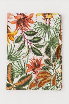 Katoenen tafelkleed met dessin - Wit/bloemen - HOME | H&M NL 2