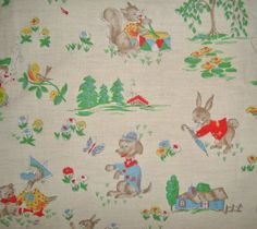 Beautiful Vintage French Childrens Fabric by ThePersianSlipper, £15.00