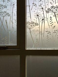 decorative window film Paper Meadow window film by Hannah Nunn Glass Design, Door Design, Window Coverings, Window Treatments, Porch Decorating, Interior Decorating, Window Privacy, Window Stickers Privacy, Frosted Window Film