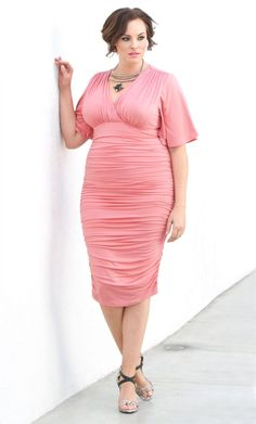Plus Size Rumor Ruched Dress - Rose Quartz SAVE 15% www.curvaliciousclothes.com