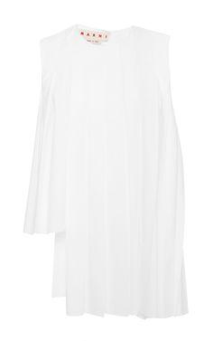 MARNI Cotton Poplin Asymmetrical Pleated Sleeveless Top. #marni #cloth #top