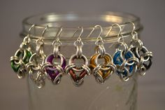 New to AthenasArmoury on Etsy: Polyhedron Chain Maille Earrings - Mustard Yellow Blue Black Green Silver Surgical Steel Enameled Aluminum (17.00 USD)
