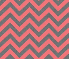 Chevrons coral and grey