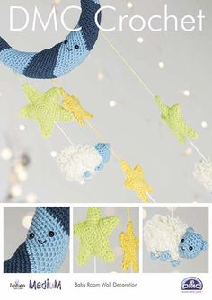 DMC Baby Room Wall Decoration Crochet Pattern Designed by Sarah Shrimpton Level: Intermediate. Measurements (approx) Moon - 6 x Green Star - 11 x Yellow Star - 9 x Sheep - 11 x 7 x Overall Height (approx with cord) This is for the pattern only. Nursery Decor, Wall Decor, Knitting Patterns, Crochet Patterns, Nursery Patterns, Baby Girl Toys, Cross Stitch Fabric, Dmc, Stuffed Toys Patterns