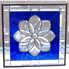 cobalt blue tiffany lamp | Cobalt Blue Cathedral Glass and Clear Beveled Flower Stained Glass ...